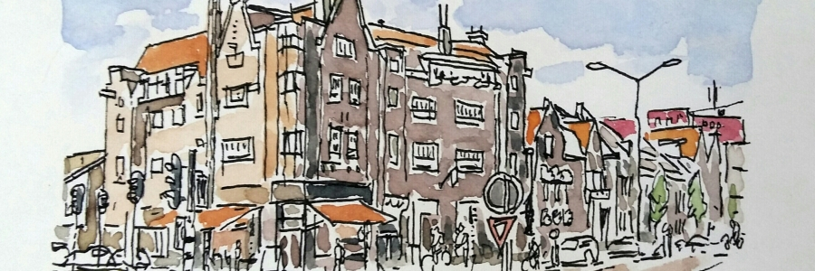 Willemstraat (2018), fineliner en aquarelverf, 10 x 15 cm