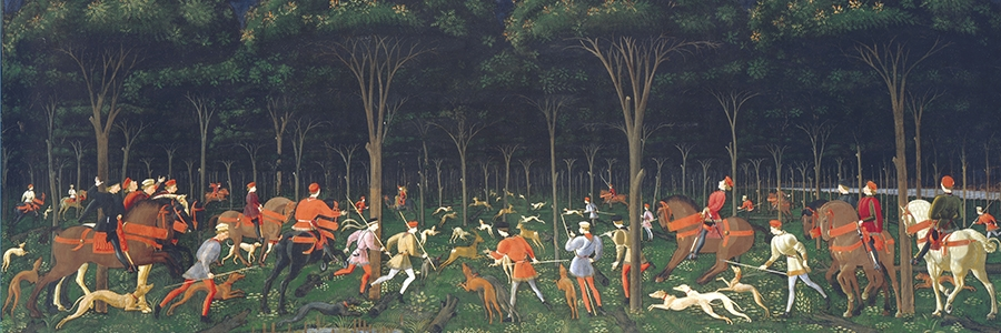 Paolo Uccello, Jacht in het bos, tempera, olieverf en goud op panel, 73,3 × 177 cm. The Ashmolean Museum, University of Oxford.