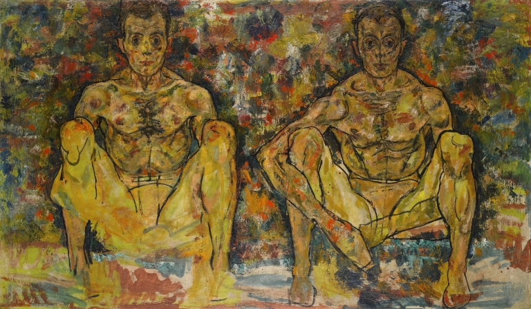 Egon Schiele (1890-1918), Squatting Men (Double Self-Portrait), 1918, Oil on canvas, 100 x 171 cm, © Private Collection, Courtesy Richard Nagy Ltd., London