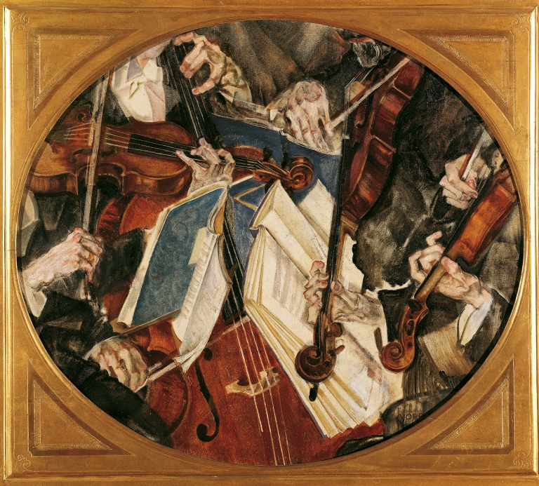 Maximilian Oppenheimer, Klingler-Quartet, 1917, Oil and tempera on canvas, 70 x 80 cm (oval), © Belvedere, Vienna
