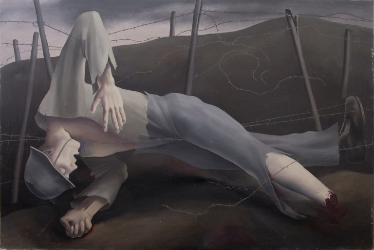 Robert Angerhofer (1895-1987), Dead Soldier in Barbed Wire, C. 1920, Oil on canvas, 107 x 147 cm