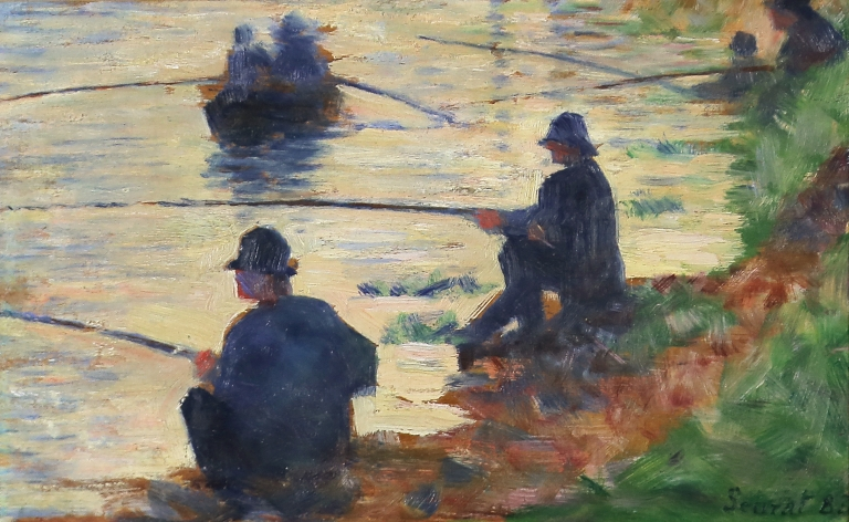 Georges Seurat, Les Pêcheurs à la ligne (1883), olieverf op doek, 16 x 25 cm. Troyes, musée d'Art moderne, collections nationales Pierre et Denise Lévy, schenking Pierre en Denise Lévy, 1976.