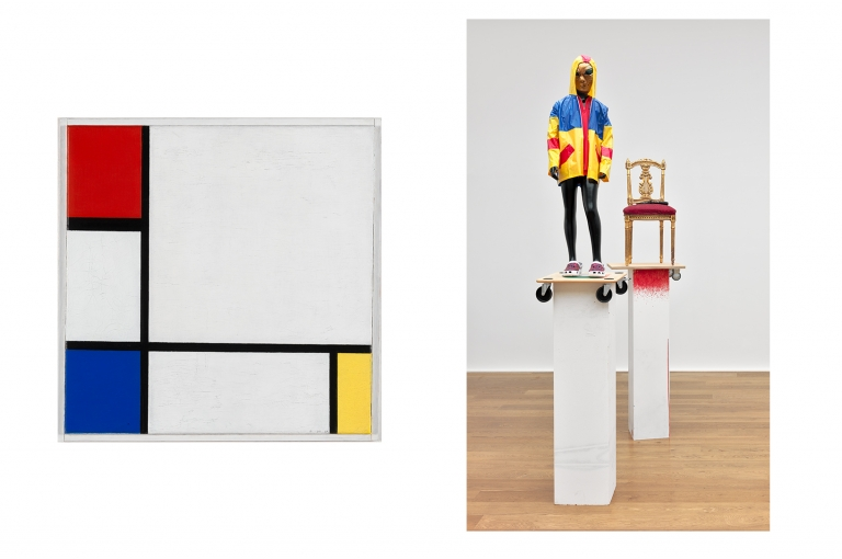 Piet Mondriaan, Composition No. IV, with Red, Blue, and Yellow, 1929, coll. Stedelijk Museum Amsterdam en Isa Genzken, Untitled, 2012, courtesy Galerie Buchholz, Cologne/Berlin and Hauser & Wirth, Zurich/London. Photo: Delfanne.